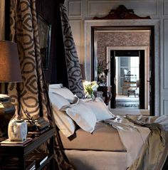 Kalmuk Stripe (canopy-bed side drape) St. Cloud (bed sheets) Kasmir (blanket) Orobel (blanket edging)