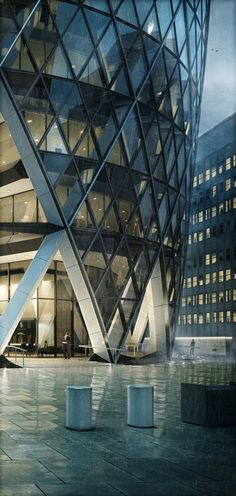 """The Gherkin"", London by Foster + Partners London Architecture, Contemporary Architecture, Amazing Architecture, Architecture Details, Architecture Design, 3d Architectural Visualization, Architecture Visualization, Norman Foster, Gherkin London"
