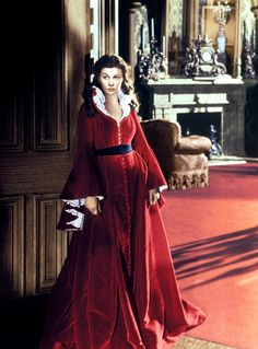 Vivien Leigh as Scarlett O'Hara in Gone With the Wind - this is the beautiful red robe (dress) that I love -
