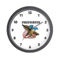 Patriotic Firefighter Wall Clock