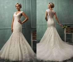 >> Click to Buy << V Neck Cap Sleeve Lace Tulle Mermaid Wedding Gowns Appliqued Fit Flare Sheer Backless Plus Size Bridal Party Dresses C0084 #Affiliate