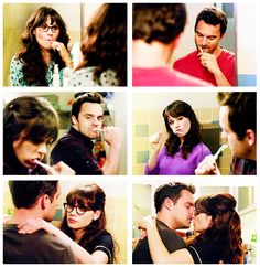 New Girl Funny, Jess New Girl, New Girl Series, Tv Series, Boy Paradise, Nick And Jess, Zoey Deschanel, New Girl Quotes, 3 Gif