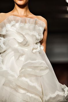 Mini ruffles! Reem Acra's New Fall 2013 Collection, as seen on Merci New York, a chic and stylish blog for fashionable brides! #ruffles #mini #receptiondress