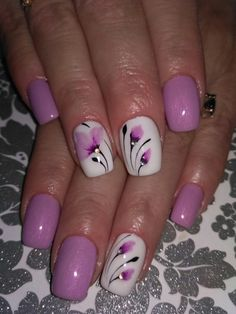 Stylish Spring Flower Nail Art Designs and Ideas 2019 – Nails New Nail Designs, Flower Nail Designs, Flower Nail Art, Nail Designs Spring, Nail Polish Designs, Spring Design, Nails Design, Gel Polish, Cute Nails