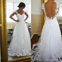 Wholesale Backless Wedding Dress - Buy 2014 Sexy Backless Beach A Line Lace Tulle Wedding Dresses Sweetheart Neckline Short Sleeves Court Train, $169.0   DHgate