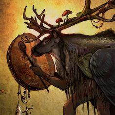 Shapeshifter - Northern Sami Scandinavian Shaman Reindeer 11x17 Print