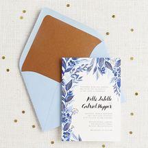Copper Foil Stamped Indigo Trellis Wedding Invitation - Kelli & Gabriel