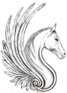 Awesome Black And White Pegasus Tattoo Design Tatoo Art, Body Art Tattoos, Cool Tattoos, Wing Tattoos, Sleeve Tattoos, Horse Tattoo Design, Tattoo Designs, Horse Drawings, Art Drawings