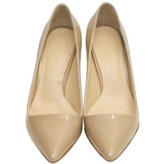 Beige She's Heels (305 BRL) ❤ liked on Polyvore featuring shoes, pumps, beige pumps, sheepskin shoes, ballerina pumps, ballerina shoes and ballet pumps