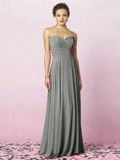 Lux Chiffon Strapless full length charcoal gray Bridesmaid Dresses only $104 PERFECT