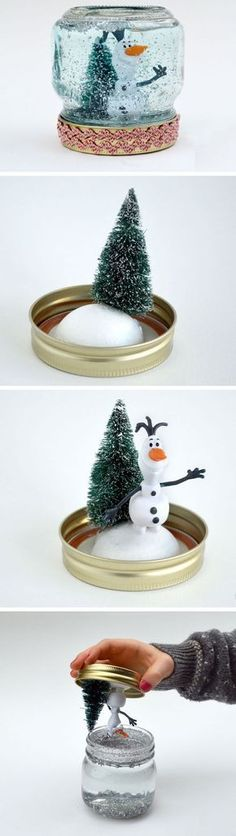How to Make A Snow Globe | 30+ DIY Christmas Crafts for Kids to Make #craftsforkidstomake
