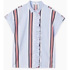 Ruffled Striped Shirt ($47) ❤ liked on Polyvore featuring tops, short sleeve cotton tops, striped top, striped short sleeve shirt, flutter-sleeve top and short sleeve tops