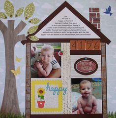 """""""Home Sweet Home"""" scrapbook layout by Kerry Cawthorne, as seen on the Creating Keepsakes editors blog. #scrapbook #scrapbooking #creatingkeepsakes"""