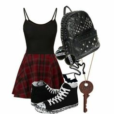 School outfit:) em(o)ily kawaii kleidung, schulkleidung, kle Cute Emo Outfits, Teenage Outfits, Teen Fashion Outfits, Mode Outfits, Punk Fashion, Casual Outfits, Summer Outfits, Fashion Looks, Grunge School Outfits