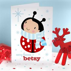 Cute personalised bug Christmas card.