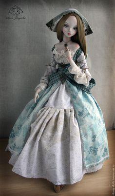 Купить Лизхен - голубой, коллекционная кукла, ручная работа, полимерная глина, барышня, милое