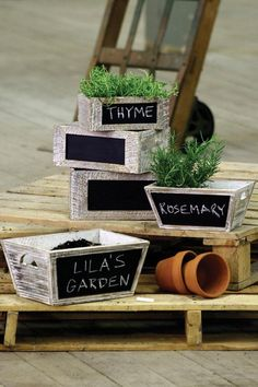 Cute herb boxes - I think I could get boxes like these at target. Makes it easy to carry inside during the winter