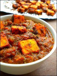 Paneer Tawa Masala Paneer / Cottage Cheese, cubed – 200 gms Onion, big – 1 Tomato – 4 to 5 Ginger Garlic paste – 1 tbsp Green Chillies – 2 Red chilli powder – 1 tsp Coriander powder – 2 tsp Turmeric powder – 1/2 tsp Chaat masala powder – 1 tsp Garam masala powder – 1/2 tsp Cumin seeds – 1/2 tsp Shah jeera / caraway seeds – 2 pinch Kasuri methi / dried fenugreek leaves – 1 tbsp Fresh cream – 1 tbsp Milk – 1/2 cup  Salt – to taste Oil – 2 tbsp