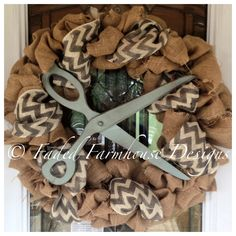Burlap wreath I made for a beauty salon...Faded Farmhouse Designs by Michelle