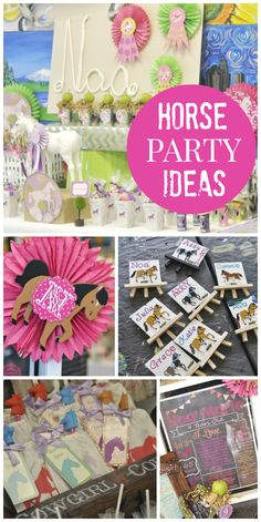 A fun art party with a horse theme for a girl birthday party!  See more party ideas at CatchMyParty.com!