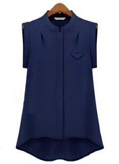 Navy Stand Collar Sleeveless Dipped Hem Blouse - Sheinside.com