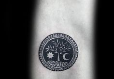 Negative Space Mens Sun And Noon Small Tree Of Life Back Tattoo