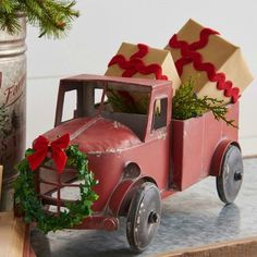 Farm Truck With Wreath Accent Decor Christmas Red Truck, Blue Christmas Decor, Christmas Mantels, Diy Christmas Ornaments, Country Christmas, Christmas Home, Vintage Christmas, Christmas Wreaths, Christmas Decorations