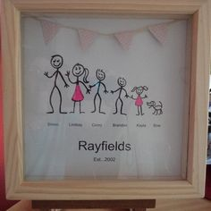 Stick figure family pictures Personalised by WendysWeddingCorner Nice Gifts, Best Gifts, Stick Figure Family, Craft Projects, Projects To Try, Family Illustration, Art N Craft, Stick Figures, Box Frames