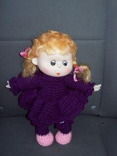 Strawberry Blond Crocheted Doll With Dark Purple by amydscrochet, $20.00