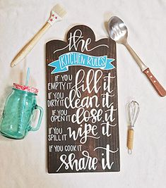 Kitchen Rules Wooden Sign - Kitchen Decor - Shabby Chic Kitchen Decor - Sign for Kitchen - Funny Quotes - Quotes www.simplysouthernsignco.com