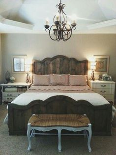 Most Beautiful Rustic Bedroom Design Ideas. You couldn't decide which one to choose between rustic bedroom designs? Are you looking for a stylish rustic bedroom design. We have put together the best rustic bedroom designs for you. Find your dream bedroom. House, Home, Bedroom Makeover, Home Bedroom, Farmhouse Style Master Bedroom, French Country Bedrooms, Chic Bedroom, Remodel Bedroom, Master Bedrooms Decor