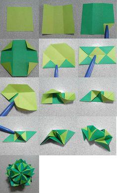 Name:Lucky star Units: 30 Paper: cm Final height: ~ 8 cm Joint: no glue Design: me Instruções Origami, Origami And Kirigami, Origami Ball, Origami Dragon, Origami Fish, Modular Origami, Paper Crafts Origami, Useful Origami, Origami Design