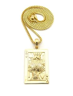 King of Spades Hip Hop Bling 14k Gold Pendant Chain - Bling Jewelz