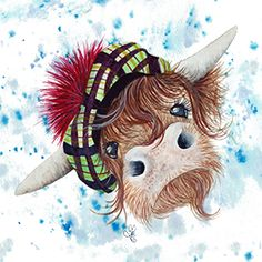 Och Aye Art Print by Art close to your heart - X-Small Highland Cow Tattoo, Highland Cow Art, Highland Cattle, Cow Pictures, Pictures To Paint, Breeds Of Cows, Cow Gifts, Realism Artists, Cow Painting