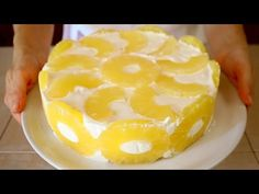 TORTA FREDDA YOGURT & ANANAS Ricetta facile senza cottura - No Bake Pineapple Cake Recipe - YouTube
