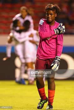 Hazel Nali goalkeeper of Zambia reacts during the FIFA U17 Women's World Cup 2014 group A match between Venezuela and Zambia at Estadio Nacional on...