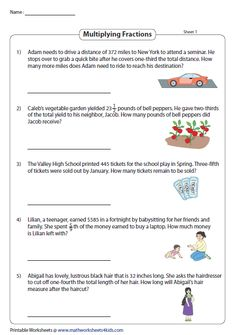 Multiplying Fractions Word Problems Adding Fractions, Dividing Fractions, Multiplying Fractions, Fractions Worksheets, Fraction Image, Fraction Word Problems, Linear Function, Words