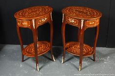 Photo of Pair Louis XIV Inlay Side Tables Occasional Sofa Table