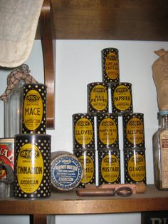 ASCO Brand Spice Tins - Love the mustard label with black background and yellow polka dots.  Also ASCO peanut butter jar and salt sacks.
