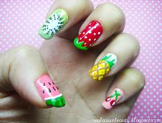19 Interesting Fruit Nails Design - these are so cool, ranging from watermelon, kiwi, strawberry, banana, cherry and so many more!