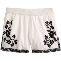 J.Crew Embroidered cotton gauze short ($50) found on Polyvore featuring shorts, bottoms, pants, short, cotton elastic waist shorts, elastic waistband shorts, j. crew shorts, j.crew and short shorts