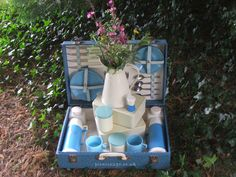 Retro Vintage Sirram Hamper for two, everything you need for an fabulous afternoon. hire for the day Vintage Picnic, Hamper, Retro Vintage, Basket, Blue, Style, Outfits