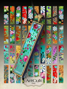 THE BLOOMING GARDEN - Digital Collage Sheet Printable 0.5 x3 inch size images for 12x53 mm rectangle bezel pendant trays