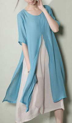 Baby blue in this cool summer~cotton layered sundress plus size original desgin Look Fashion, Hijab Fashion, Fashion Outfits, Fashion Design, Linen Dresses, Cotton Dresses, Plus Size Maxi Dresses, Casual Dresses, Moda Casual