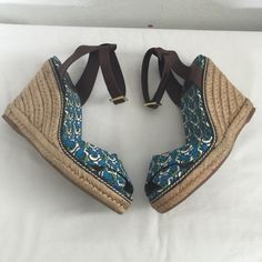 Tory Burch Wedge Heels 4.5 inches. Beautiful Frog print in blue. Made in Spain. Tory Burch Shoes Wedges