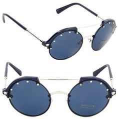 Versace Women's VE4337 VE/4337 5251/80 Blue/Silver Round Fashion Sunglasses 53mm