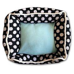 Black & White Polka Dot Bed - Aqua