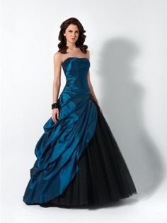 Multi Colours Tulle Taffeta Lace-up Ball Gown Ruffles Strapless Prom Dress in UK