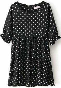 Black Short Sleeve Polka Dot Tunic Chiffon Dress - Sheinside.com
