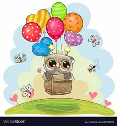 Owl in the box is flying on balloons. Cute cartoon Owl in the box is flying on balloons royalty free illustration Cute Cartoon Pictures, Cartoon Pics, Cute Pictures, Flying Balloon, Air Balloon, Classroom Birthday, Owl Wallpaper, Tole Painting Patterns, Owl Cartoon